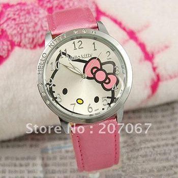 free shipping 10pcs/lot pink lovely Hello Kitty Quartz Girls Ladies Wrist Watch A426