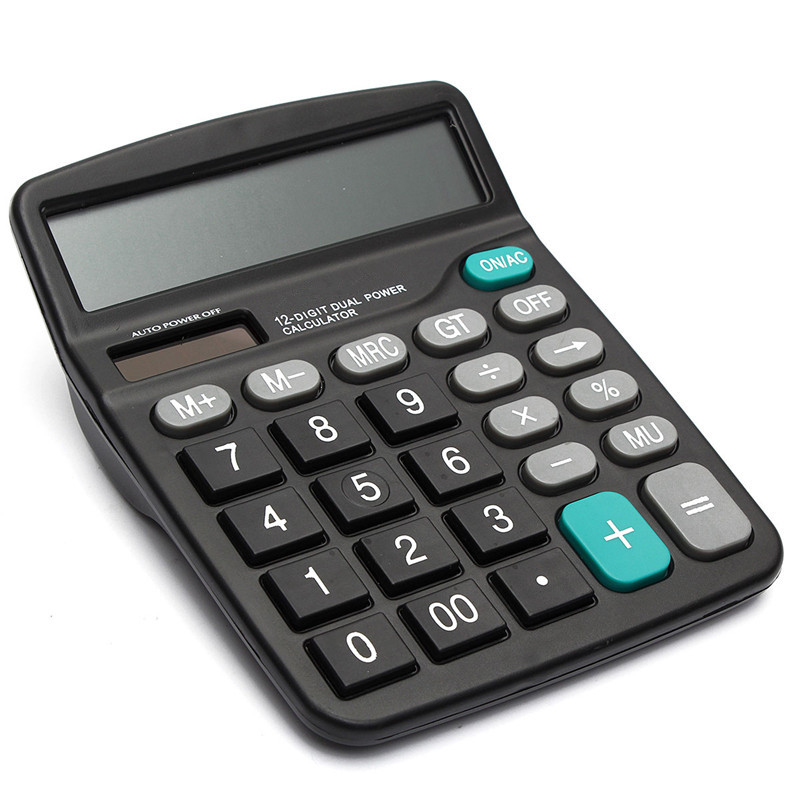 Modern Portable Office Commercial Tool Battery or Solar 2in1 Powered 12 Digit Electronic Calculator with Big Button