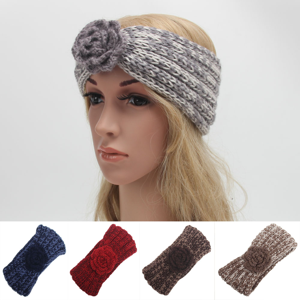 2016 Spell color flowers 10pcs/lot Women's Knitted Headwrap Knit wool crochet headband ear warmers for Ladys Girls Teens(China (Mainland))