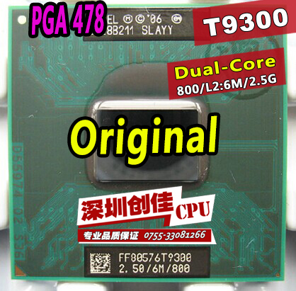 Shipping free Intel Core Duo T9300 CPU(6M Cache,2.5GHz,800MHz FSB)Dual-Core Laptop processor for PM960/965 GM960/965 chipset(China (Mainland))