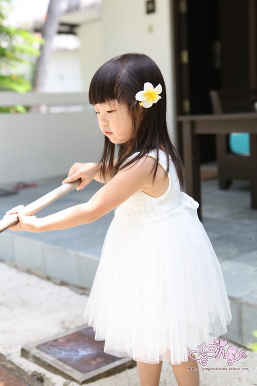 Retail / Cotton Baby Girls Summer White /Rose Sleeveless A-Line Dress Princess Tutu 3-7 years old - Rain Beauties Clothes Co.,Ltd store