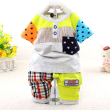 2015 New casual short sleeve summer baby suit character children clothing set 7086