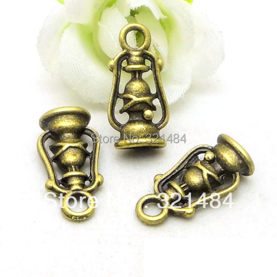 20x10mm Ancient lantern 100pcs Antique Bronze Brass Alloy Metal Drop Retro Vintage Jewelry Pendant Charms(China (Mainland))