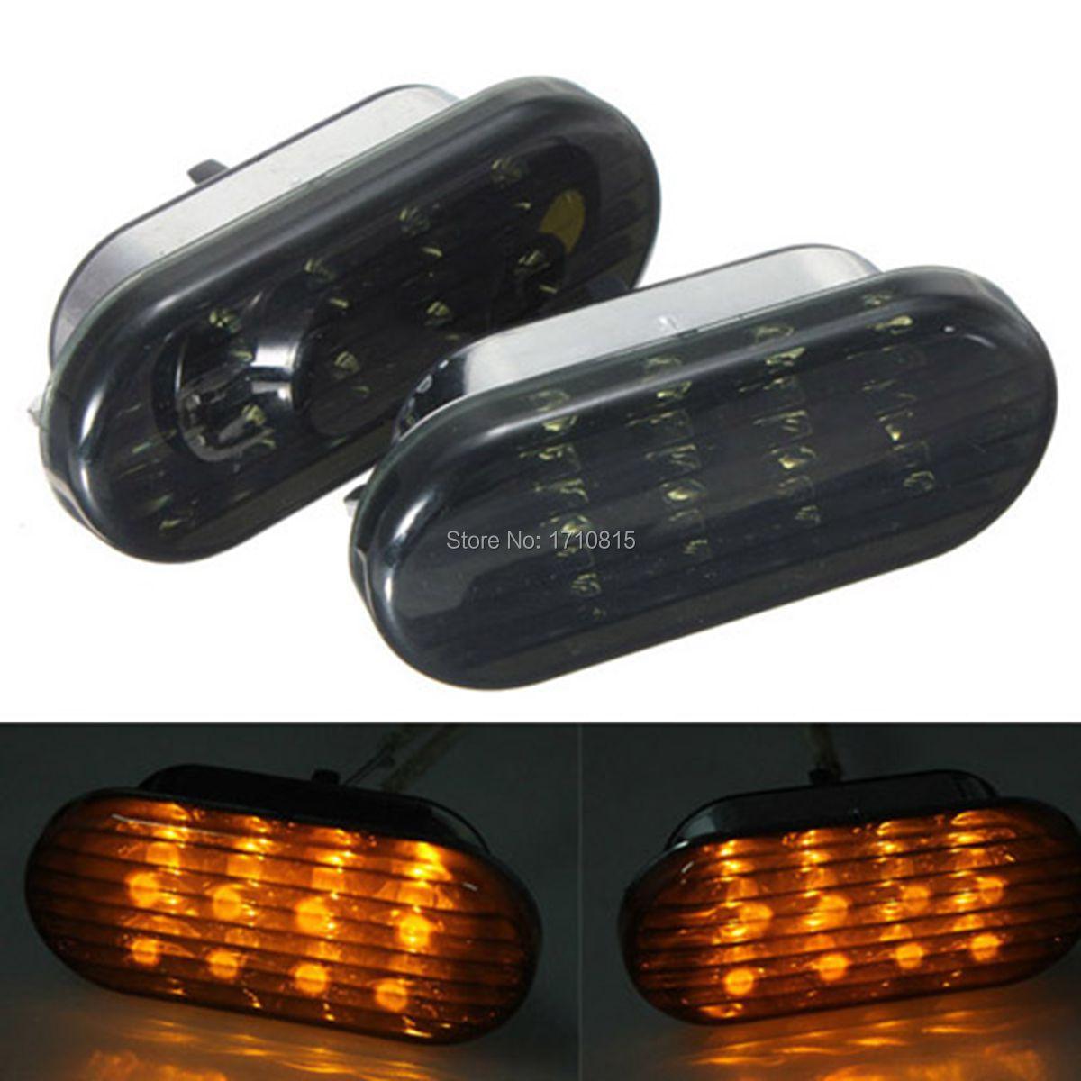 8 LED Amber Smoke Blue Turn Signal Side Marker Light For VW Golf Jetta Passat GTI R32 Beetle 1998-2004(China (Mainland))