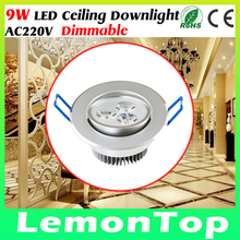 9W 220V LED Celing Lamp Down Light Dimmable Cool White Warm White LED Ceiling Downlight For Home Living Bed Room illumination(China (Mainland))