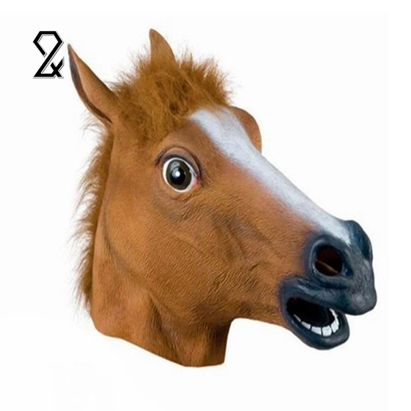 Full Face Halloween Horse Mask Novelty Creepy Head Latex Brown Costume Theater Prop Party Mask Christmas Decoration Supplies(China (Mainland))