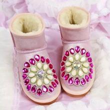 Envío gratis dulce forma de la flor del diseño del diamante impermeable nieve del invierno de arranque zapatos de cuero de gamuza(China (Mainland))