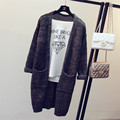 Autumn Winter Loose Casual Thick Soft Medium Long Style Women Knitted Cardigan Female Woolen Pockets Sweater