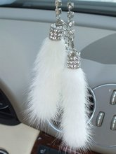 Hot Sale White Color Mink Crystal Strap keyChain Car Ornament  Rearview Mirror Hanging Decoration  Mink Auto Hanging Accessories(China (Mainland))