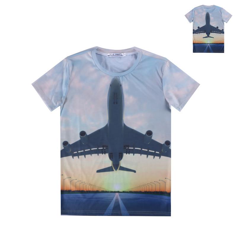 Novelty men women 3d t shirt scenery print dusk taking off for T shirt printing one off