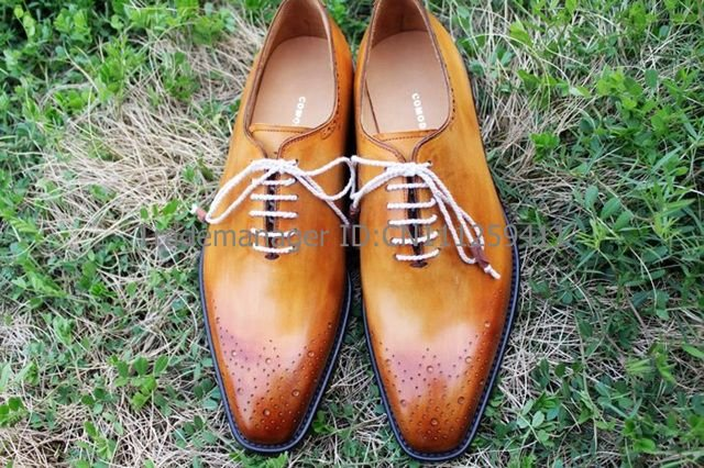 Adhesive craft handmade pure genuine calf leather mens dress oxford color brown shoe No.OX169<br><br>Aliexpress