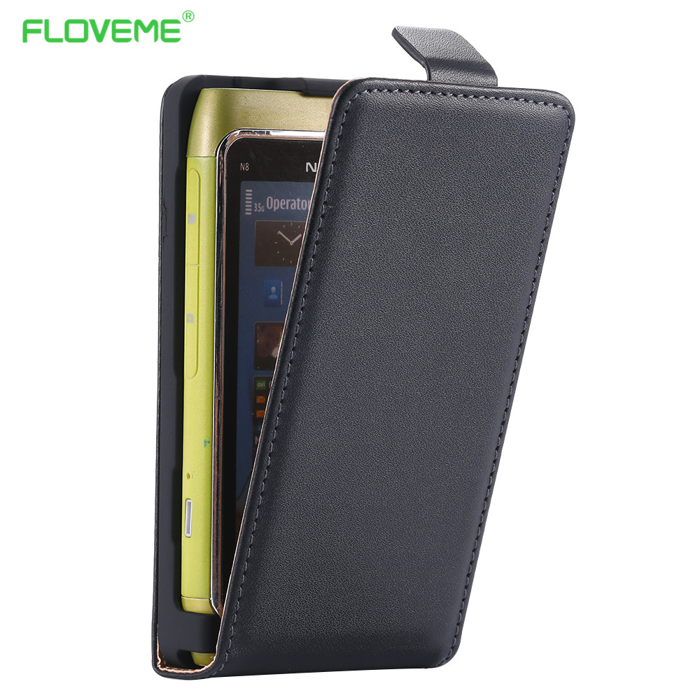 FLOVEME Genuine Leather Full Protective Retro Case For Nokia N8 Luxury Korean Style Shockproof Vertical Flip Cover For Nokia N8(China (Mainland))
