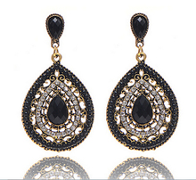 vintage bohemian teardrop stone seed beads drop earring ethnic jewelry(China (Mainland))