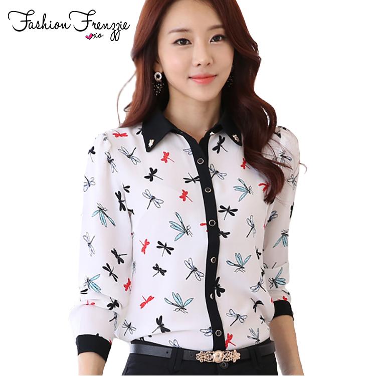 Стрекозы Panttern с длинным рукавом тонкий женщины печатных шифон блузка Большой размер S-3XL корейской мода леди отложным воротником рубашки