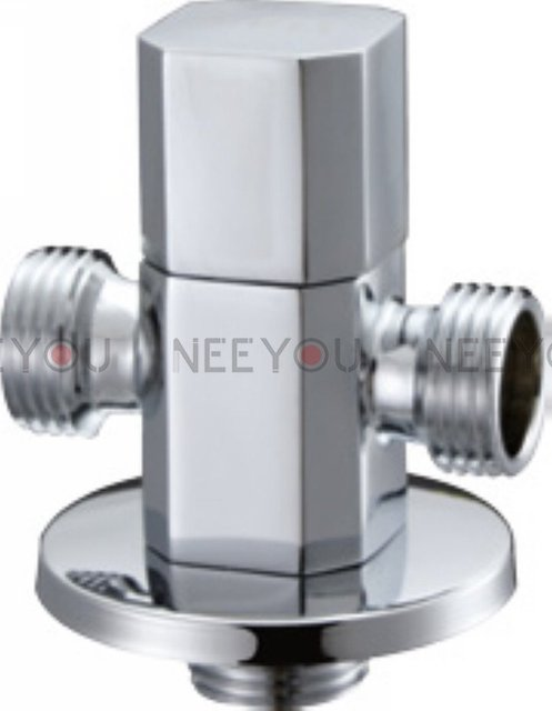 3 Connector,1 inlet & 2 outlet Angle Stop valve Brass Chrome Angle Valve  Free shipping 16110