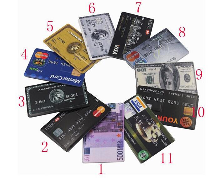 Waterproof u disk flash card 32GB/16GB/8GB/4G Bank Credit Card Shape USB Flash Drive Pen Drive Funny banknote Memory Flash Stick(China (Mainland))