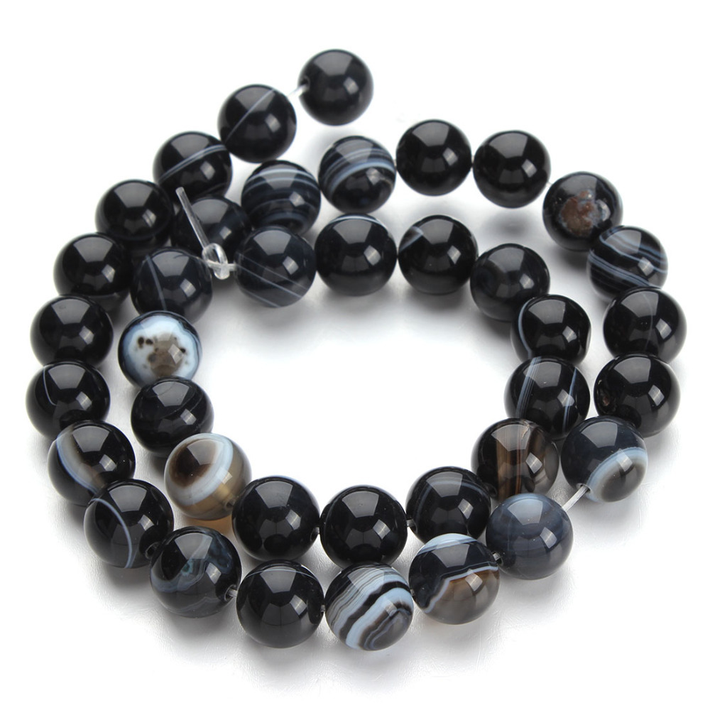 Natural Black Onyx Agate Loose Stone Round Beads 40cm Strand 6 8 10 12 mm Jewelry Making F2430 - Yiwu Xinyao Factory store