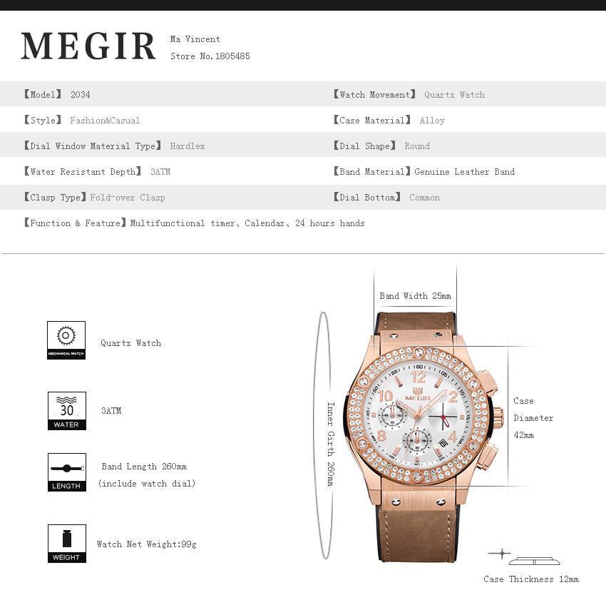 MEGIR Авто Дата Случайные Мужчины Или Женщины Платье Часы Розовое Золото Кристалл Алмаза Часы Хронограф Водонепроницаемый Многофункциональные Часы