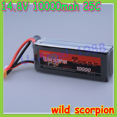 Free shipping wild scorpion Lipo Battery 14.8V 10000mah 25C MAX 40C XT60 Plug for DJI S800 RC Car Boat Airplane Multirotor Part