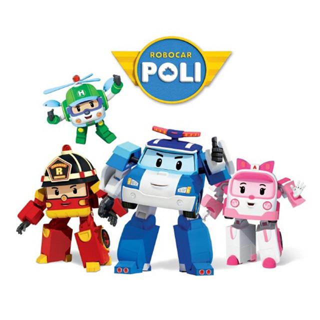 4 pcs/Set Transformasi Robocar Poli Robot Mobil Mainan