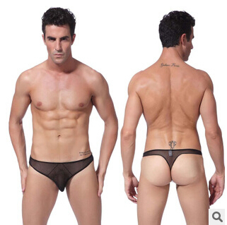 Passion gauze sexy man thongs, ultra-thin sexy lingerie macho man U convex design T pants D2011(China (Mainland))