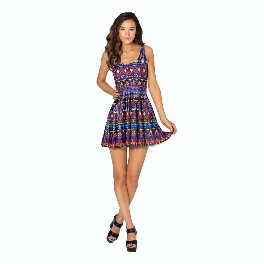 2015 Summer Casual Dresses Women Lady Fashion O Neck Sleeveless Europe American Style Mini Retro