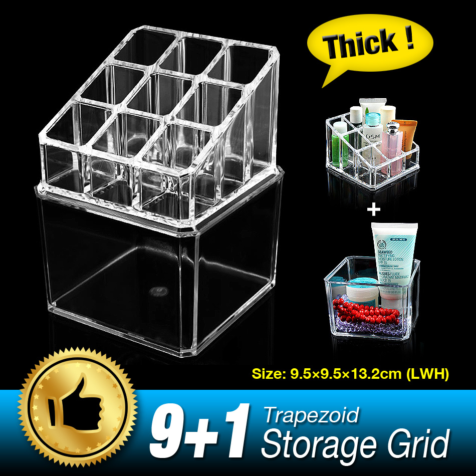 Free Shipping 10 Grids 2 Layer Organizer Storage Box Makeup jewelry Case Cosmetic Skin Care Display Stand Thicken Clear Acrylic(China (Mainland))