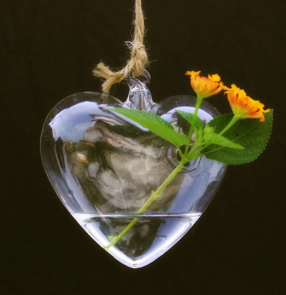Heart Glass Hanging Planter Container Vase Pot Home Wedding Decoration ...