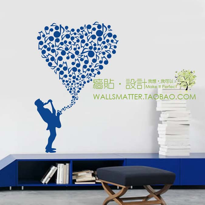 heart music notes wall stickers decoration decor home decal fashion cute waterproof bedroom living family house glass cabinet(China (Mainland))