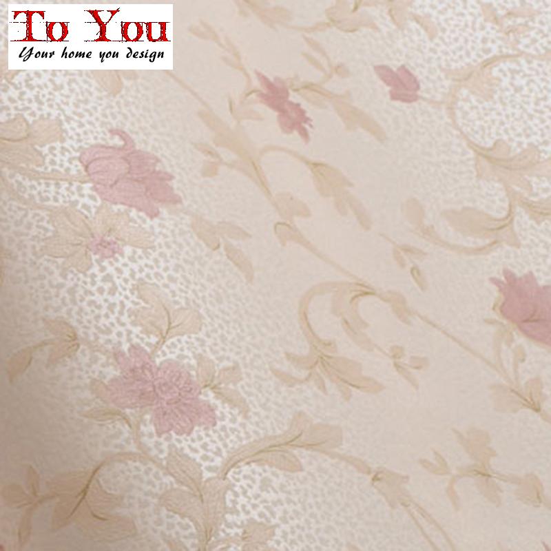 High grade rural non-woven wallpaper the bedroom sweet pink/purple wallpaper,10meter/lot(China (Mainland))