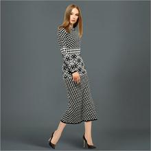 Fashion high quality women's retro elegant plaid knitted sweater dress female autumn winter bottoming long woolen dress