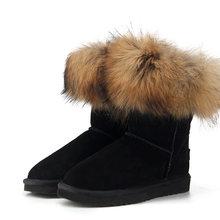 MBR Lực Thời Trang Nữ Tự Nhiên Thật Cáo Lông Ủng 100% Chính Hãng Da Bò Nữ Giày Nữ Mùa Đông Ấm Áp giày Boots(China)