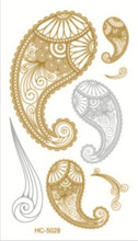 10x6cm HC-5028 body art tattoo gold silver temporary tattoo sex products bracelet flash tattoo metallic henna tatouage taty