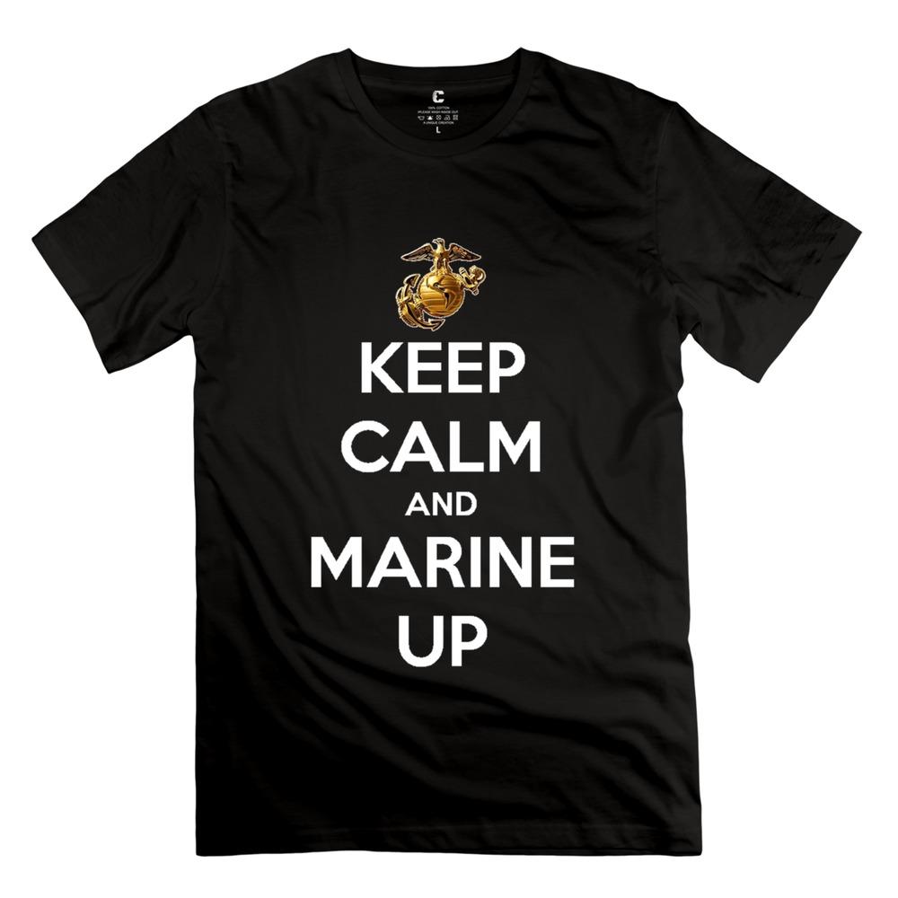men Keep Calm Marine up 2015 Stylish t shirts Normal boys Short Sleeve 100% Cotton t shirt for Sale(China (Mainland))