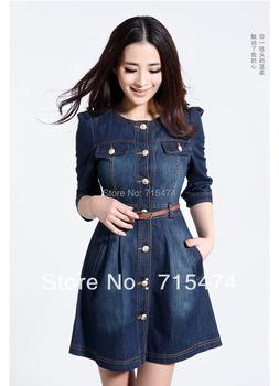 Brand Newest,Vintage Fashion Women's Denim Dresses ,Popular Lace Neck Ladies' Dress Casual workwear ,2015 summer Free shipping