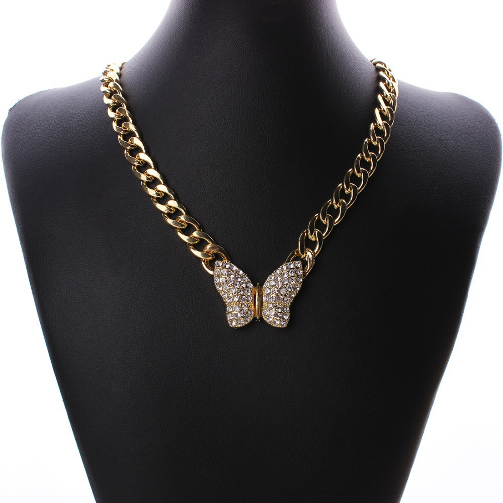 product Korea Adorn Article Fashion Crystal Butterfly Pendant Necklacefashion gold Chain Jewelry N27741