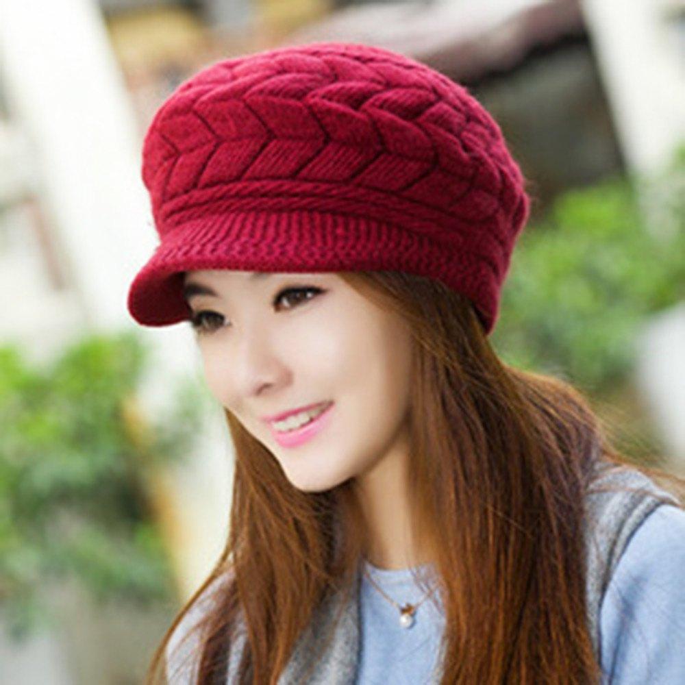 2016 Stylish Chic Women Pattern Solid Color Knitting Beret Hat(China (Mainland))