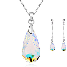 Fashion Jewellery Set New Silver/Gold Plated Color Drop Crystal Necklace Earring Fine Jewelry Sets For Woman wholesale&retail(China (Mainland))