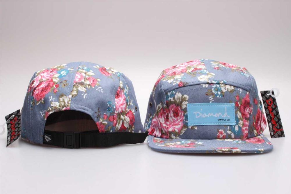 Diamond 5 panel Snapback cap hat star men & women Floral classic baseball caps check gingham black blue 20 different styles(China (Mainland))