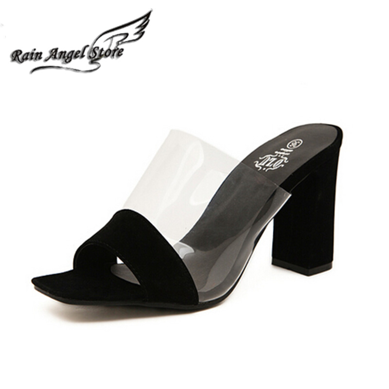 Black Sexy Shoes Suede PVC Transparent Splicing Open Toe Sandal Thick Heels White High-heeled Sandals Slippers Big Size 40  <br><br>Aliexpress