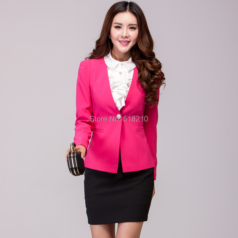 Plus Size New 2015 Formal Blazer Coat Autumn Winter Women's Jacket Tops Professional Work Wear Outwear Overcoat Female Clothes(China (Mainland))