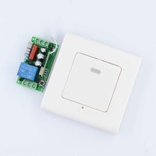 AC 220V 1CH 10A Relay Receiver + Transmitter Bed Room Hall LED Lamp Light Bulb Remote Control Switch + Wall Transmitter(China (Mainland))