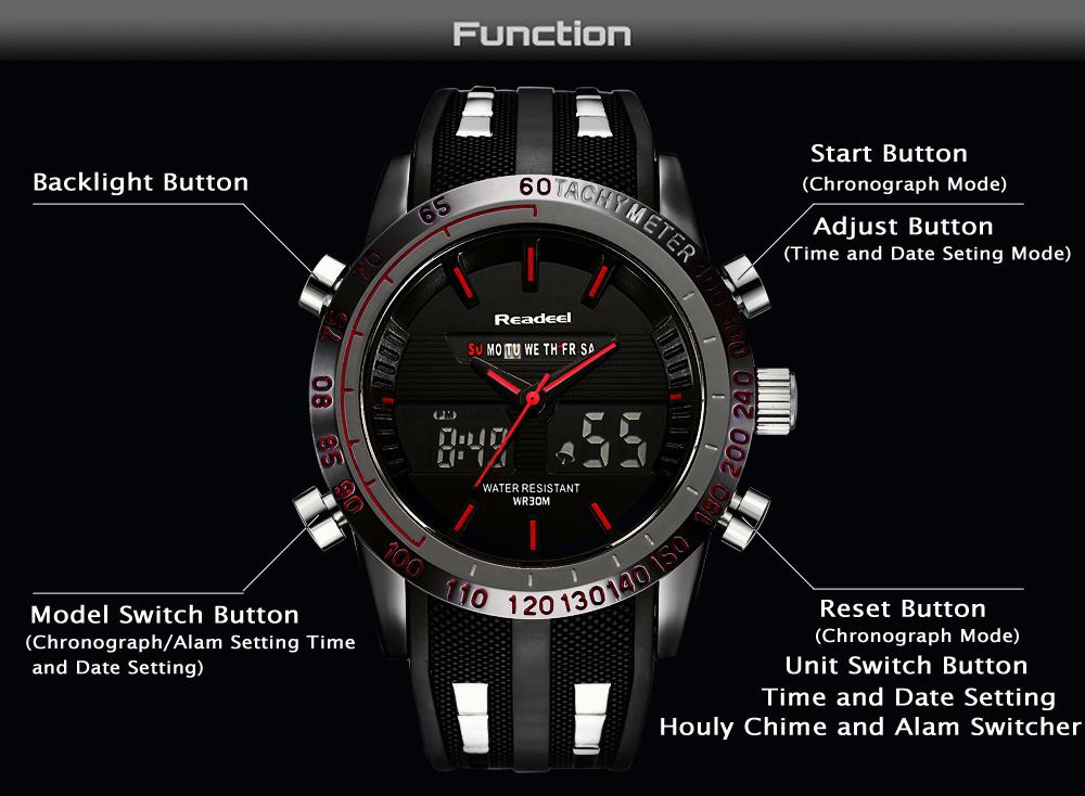 Роскошные брендовые часы мужские спортивные водонепроницаемый светодиодный 03