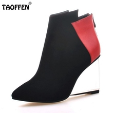 Buy Women Pointed Toe Real Genuine Leather Ankle Boots Wedges Transparent Heeled Shoes Woman Zipper Heeled Shoes Size 34-39 for $55.82 in AliExpress store