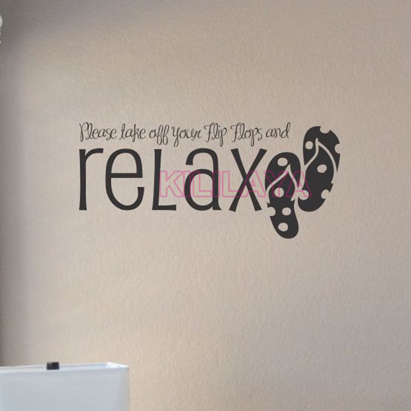 Stickers Take Off Your Flip Flops And Relax Vinyl Wall Sticker Decals Art Wallpaper for Living Room Home Decor House Decoration(China (Mainland))