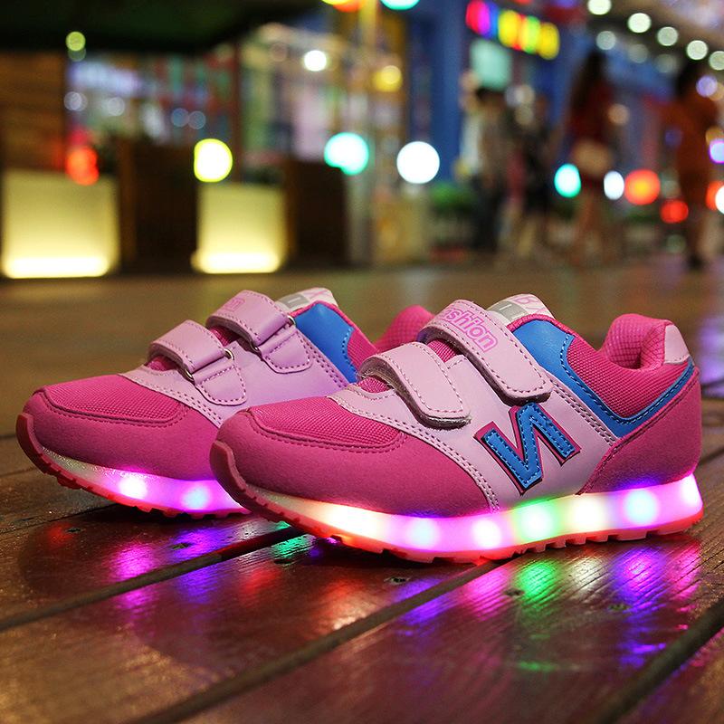 2016 kids led shoes chaussure lumineuse enfant LED luminous children  light colorful shoes unisex boys girls children sneakers
