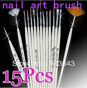 Nail art brush drawing paint brush 15pcs finger brush set of tools nail art drill point pen light therapy pen crystal pen(China (Mainland))