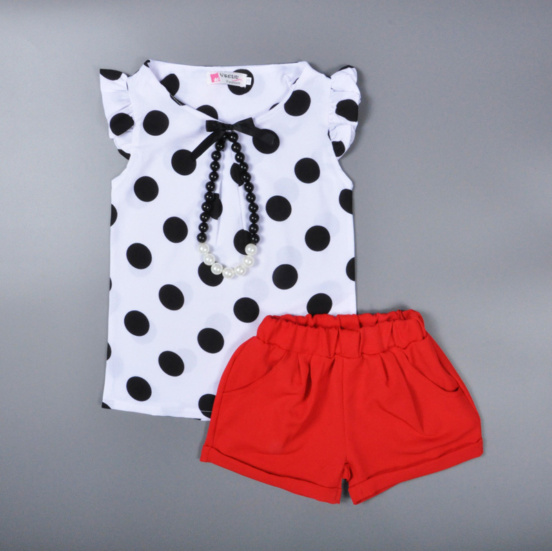 Baby girls suit summer style black Polka Dot Print kid clothing cotton T shirt + pant red designer party ropa bebe infantil nino(China (Mainland))