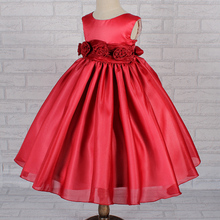 Hot Sales Formal Kids Party Gowns Organza Red Flower Girl Dresses For Weddings Flowers Kids Evening Dress For 8 years Girl 032BS(China (Mainland))