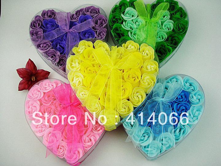 gift washing cleaning bath rose Flower paper petals soap gift organtic wedding favor mulit color 24pc/set bowknot free shipping(China (Mainland))